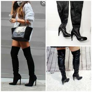 Zara over the knee black high heel boots size 37